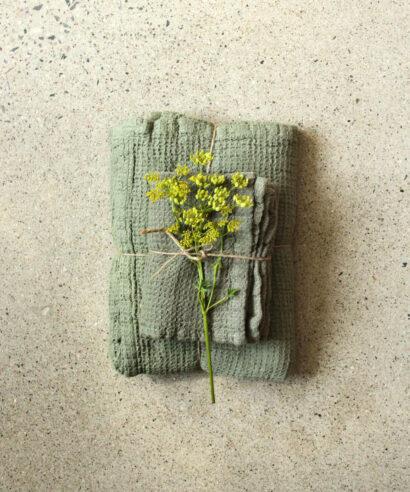 Våfflad handduk grön